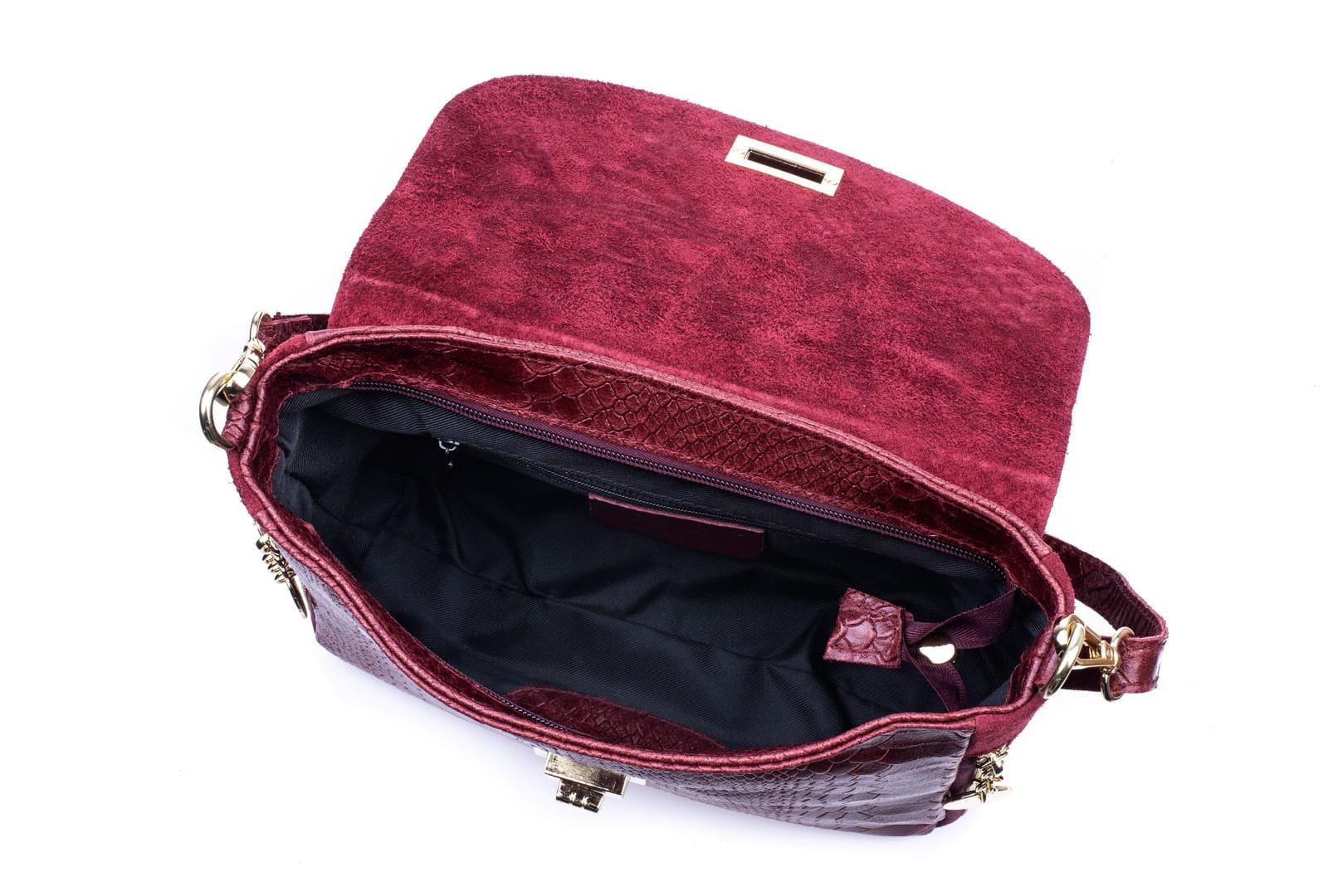 2bd75f2f47669 Torebka Damska Skórzana Vera Pelle Łuski Bordowa Leather Box