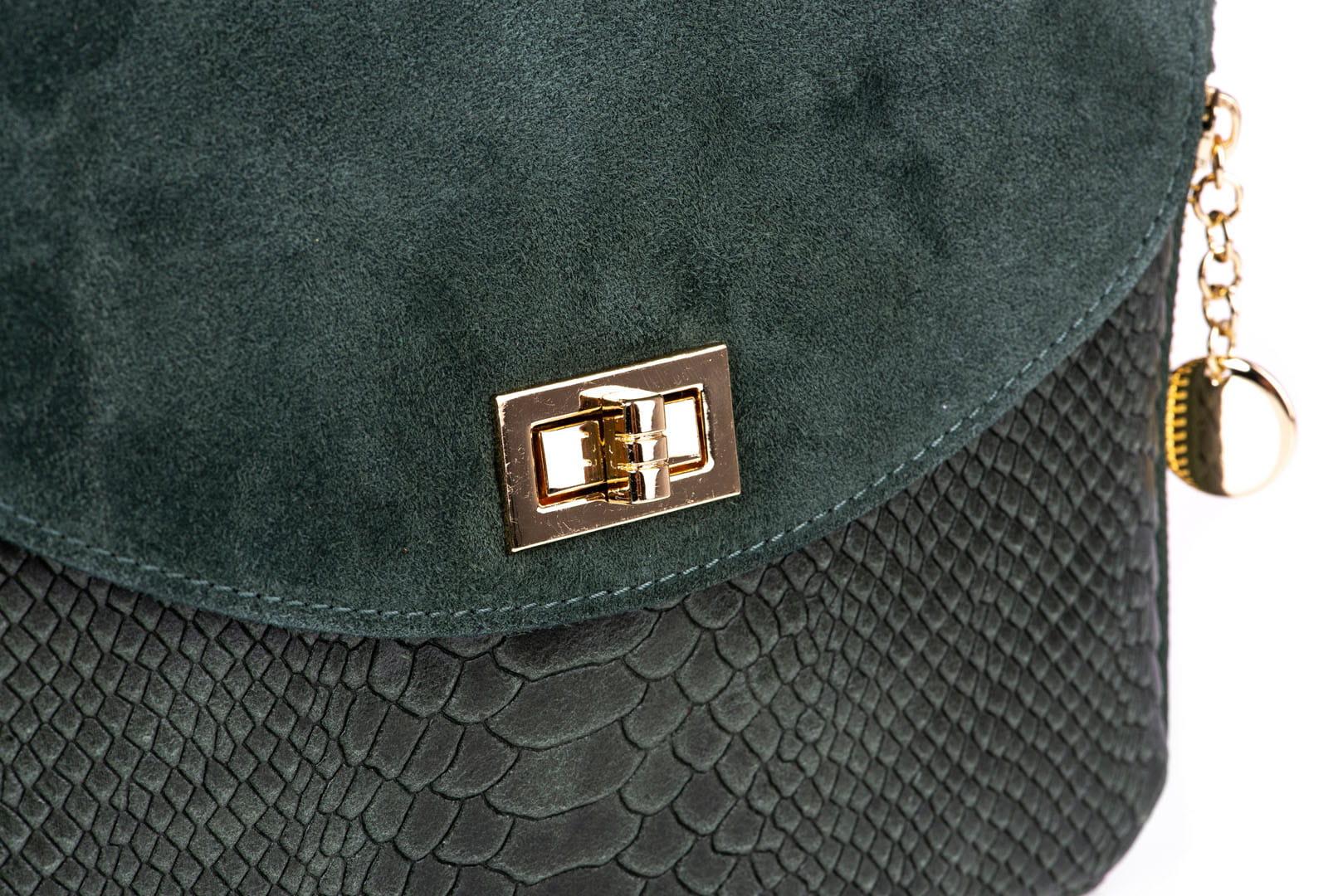 0e3400420c900 Torebka Damska Skórzana Vera Pelle Łuski Zieleń Butelkowa Leather Box