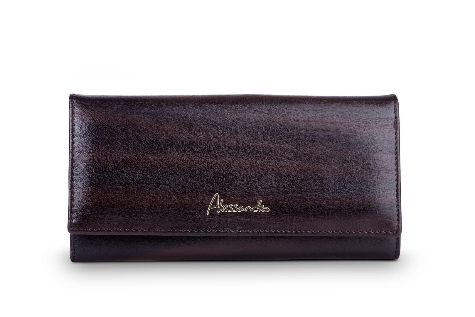 55ff595657f46 Portfel damski Skórzany Alessandro Paoli Kawowy Leather Box