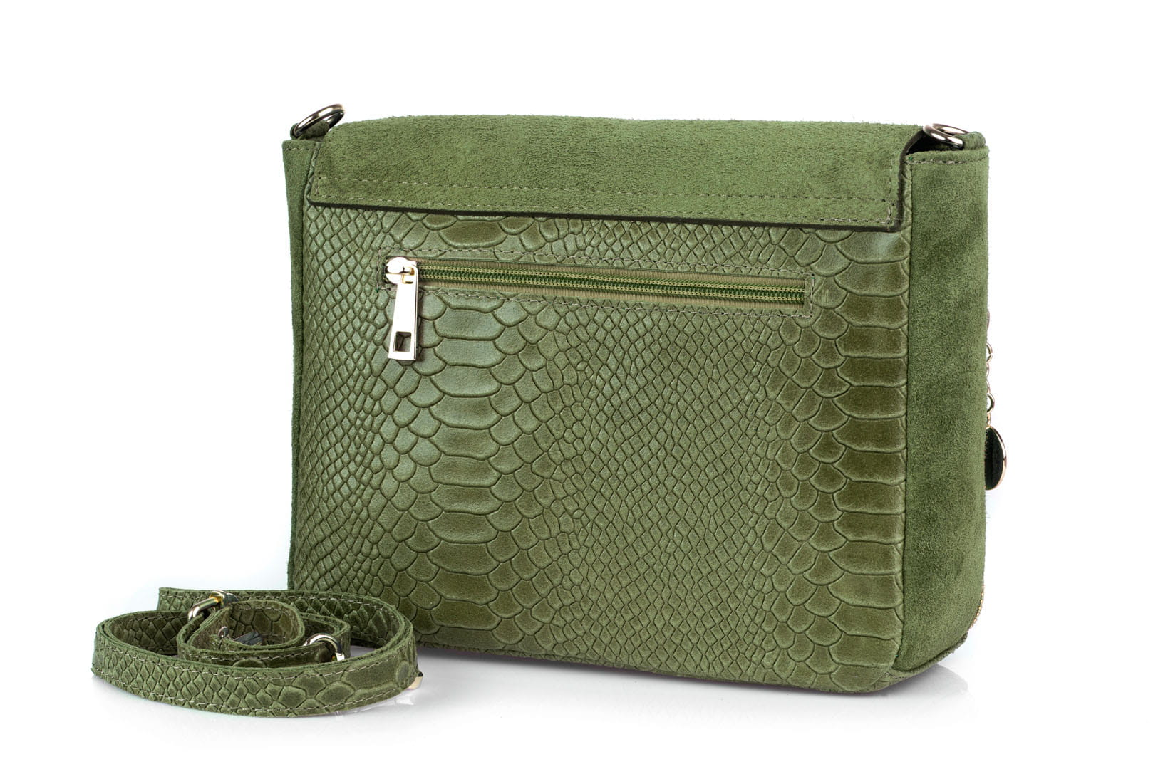 ab86a00299ae0 Torebka Damska Skórzana Vera Pelle Łuski Oliwkowa Leather Box