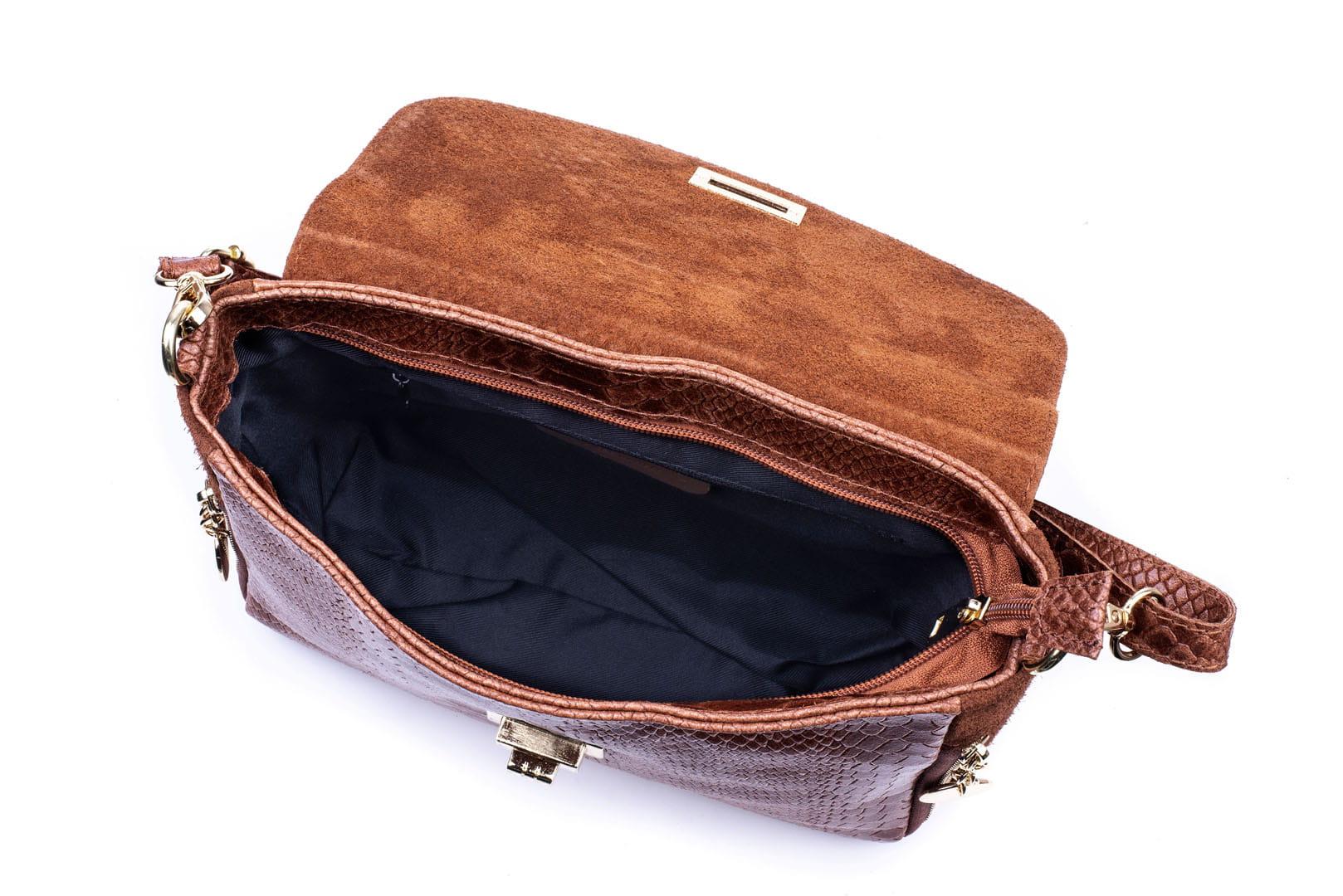 3f9f19bca5811 Torebka Damska Skórzana Vera Pelle Łuski Koniak Leather Box
