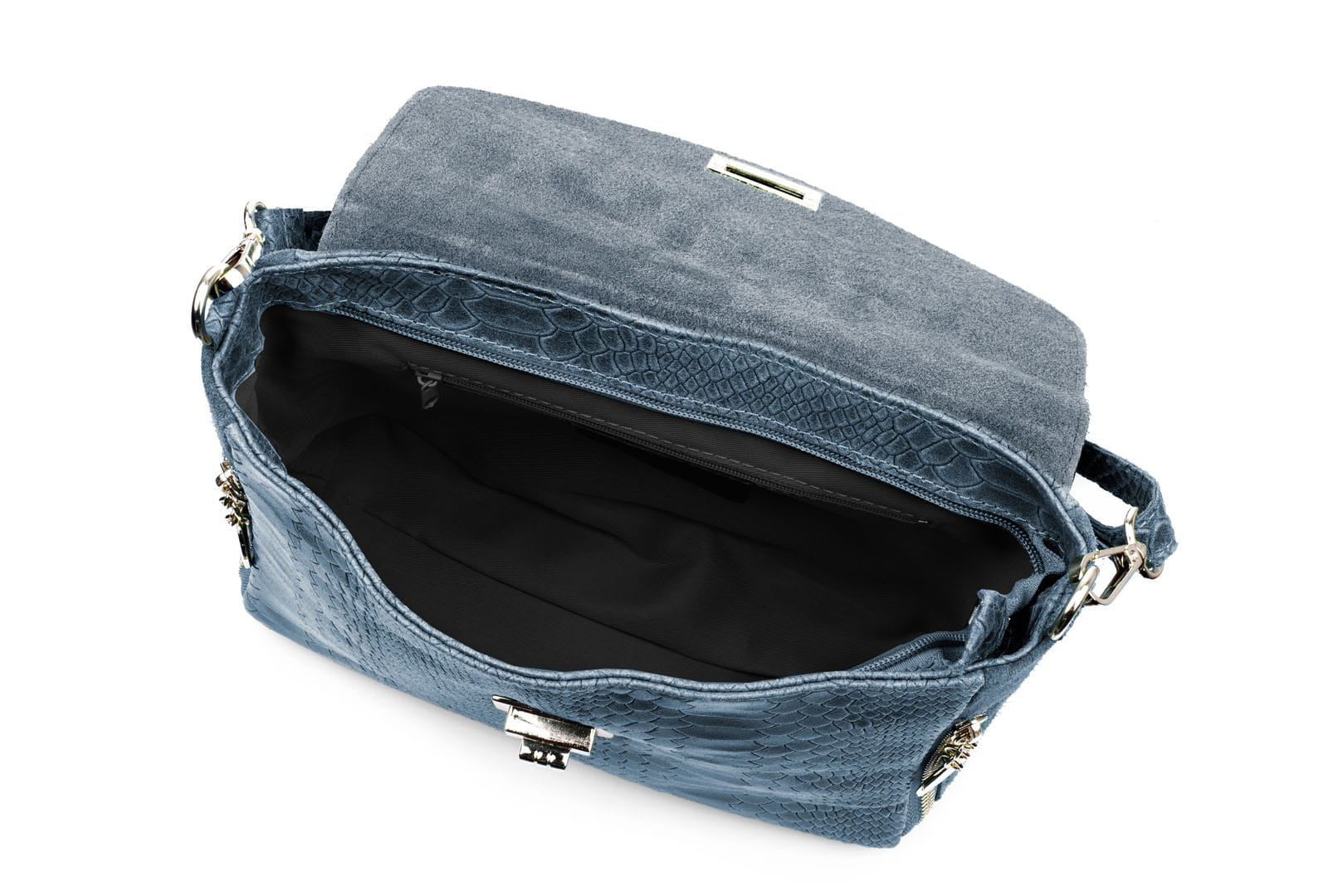 38d2a2c9861a8 Torebka Damska Skórzana Vera Pelle Łuski Jeansowa Leather Box