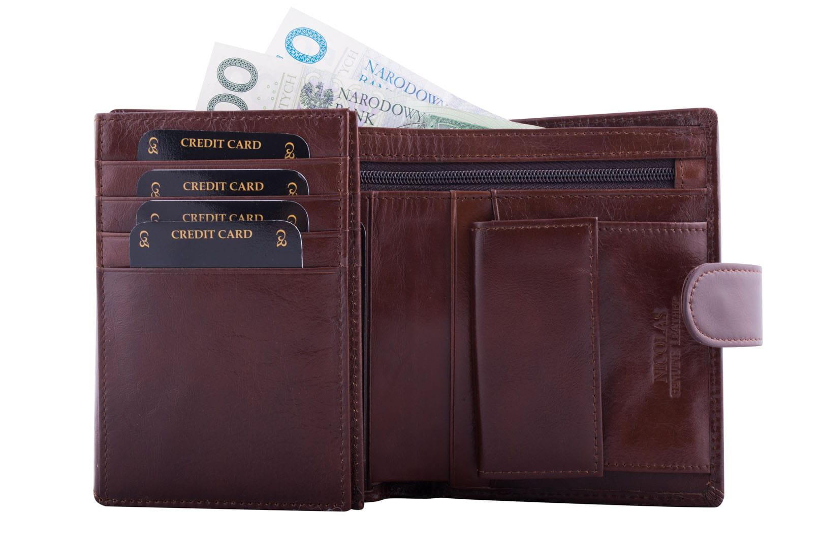 3dc683ce7fc7b Portfel męski Skórzany Nicolas 50005-2 brązowy Leather Box